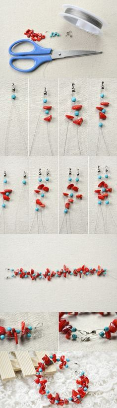 Tutorial on How to Make a Criss Cross Bracelet with Coral and Turquoise Beads from LC.Pandahall.com          #pandahall