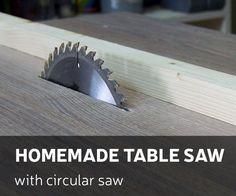 This time I'll make a homemade table saw by using regular circular saw How I did it - you can check by looking DIY video or you can follow up instructions bellow. For this project you will need: Materials: Melamine, plywood or other board for table top and legsWood screws (50mm) and 16mm with flat headCircular sawZip tiePower stripTools: Drill and bitsClampsSquareA file