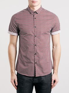 Topman Slim Fit Short Sleeve Geo Print Shirt - Click the link to purchase this item or find out more about it :) Latest Clothes For Men, Red Shorts, Printed Shirts, Shirt Designs, Nordstrom, Men Casual, Slim, Mens Fashion, Geo