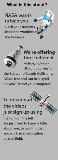 Educator's DVD Collection from NASA - sign up and tell what kind of educator you are to get the free m4v downloads and corresponding materials.