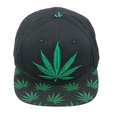 2328f2ceb533d Marijuana KUSH Pot Leaf Weed Cannabis Embroidered Flat Bill Snapback Cap  Hat Black Baseball Cap