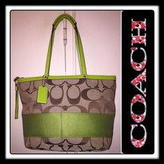 """Coach Jacquard Canvas Signature Stripe Tote Bag! Coach Canvas Signature Stripe Tote Bag! Features: 100% authentic, lime green patent leather trim, khaki & dark brown signature jacquard canvas ext w/ green wide stripe, Top zip closure, Int zippered side wall pocket, 2 int slip pockets, Pen slip pocket, Double leather handles & approx 9"""" drop, Flat base. Coach creed, serial no. & hang tag. 14"""" L top edge/  9.5"""" L bottom x 9.5"""" H x 4"""" D. Minor ext marks & light wear on bottom corners which not…"""
