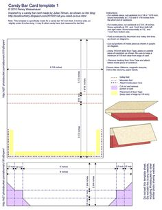 """Card Templates :: Candy bar card.  NOTE: The links are """"funny"""" on this site, and seem to take you to a random page each time. This template is on page 19-21"""