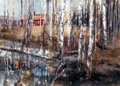 Lars Lerin - Birches