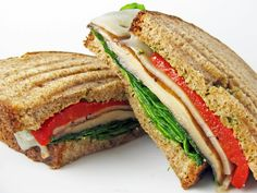 Grilled Portobello, Pesto, and Roasted Red Pepper Sandwich - A Hint of Honey