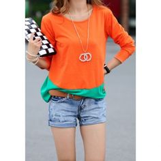 $9.79 Scoop Neck Color Matching Long Sleeved Women's T-Shirt