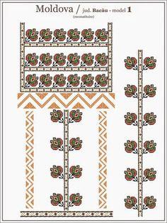 Semne Cusute: Romanian traditional blouse - MOLDOVA region, Baca... Folk Embroidery, Embroidery Patterns, Knitting Patterns, Cross Stitch Designs, Cross Stitch Patterns, Republica Moldova, Contemporary Decorative Art, Craft Patterns, Beading Patterns