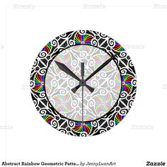 Abstract Rainbow Geometric Pattern Personalizable Round Wall Clock