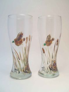 Ducks Hand Painted Beer Glass by GlitznGlass on Etsy, $31.00