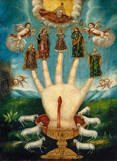 Giclee fine art print from antique century Mexican folk art devotional painting called Mano Poderosa (The All-Powerful Hand), or Las Cinco Personas (The Five Persons). Religious Icons, Religious Art, Religious Images, Symbol Hand, Esoteric Art, Medieval Art, Mexican Folk Art, Sacred Art, Fine Art Prints