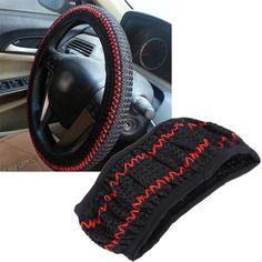 3 Colors 38CM DIY Car Steering Wheel Cover Summer Helper Cool Black Beige Grey Steering Covers Car-styling Accessorie Ice Silk