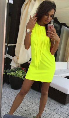 Dámske šaty Leo Galardy Neon žlté