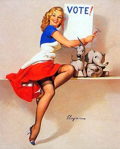 """""""The Colonial Miss"""", illustrated by Gil Elvgren  for The American Weekly, 1942."""