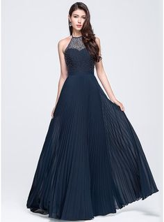 A-Line/Princess Halter Floor-Length Chiffon Prom Dress With Beading Split Front Pleated