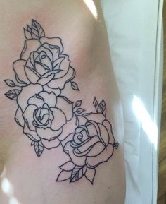 Old school rose outline by Travis Allen Www.twistedtattoo.co.uk