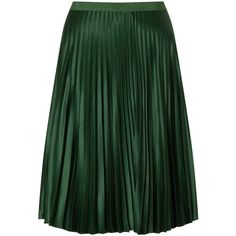 Maison Scotch Pleated Skirt, Green ($125) ❤ liked on Polyvore featuring skirts, bottoms, юбки, green knee length skirt, knee length pleated skirt, knee length skirts, green a line skirt and green skirt