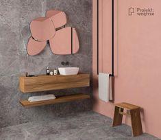 Niebanalna łazienka - szary kamień + intensywny kolor - Vanity, Mirror, Bathroom, Furniture, Home Decor, Dressing Tables, Washroom, Powder Room, Decoration Home