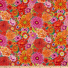 Kaffe Fassett Collective for FreeSpirit Enchanted Red Orange Bathroom Decor, One Block Wonder, Red Fabric, Fabric Shop, Fabulous Fabrics, Baby Quilts, Wall Design, Color Inspiration, Quilt Blocks