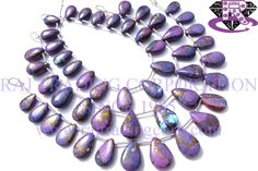 Purple Copper Turquoise Smooth Pear (Quality AAA) Shape: Pear Smooth Length: 18 cm Weight Approx: 13 to 15 Grms. Size Approx: 8x12 to 10x14.5 mm Price $32.80 Each Strand