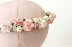 Pink Flower Crown, rustic wedding, Bohemian, bridesmaids, prom, Woodland. spring, summer,  bridal headpiece, pink rose - WILD ROMANCE