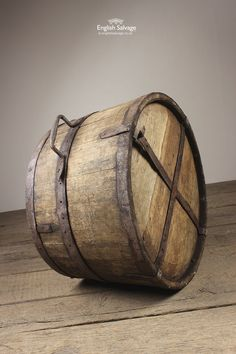 Reclaimed Wooden Tub/Cask with Metal Banding