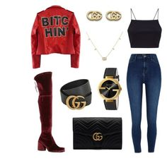 """Bitchin' Gucci"" by fashionstyleideas4now on Polyvore featuring River Island, Stuart Weitzman and Gucci"