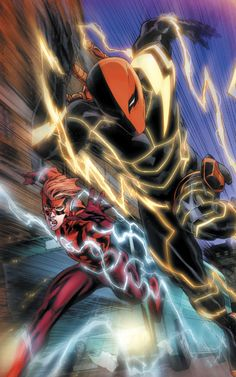 Wally West and Deathstroke Dc Deathstroke, Deathstroke The Terminator, Flash Comics, Marvel Dc Comics, Dc Comic Books, Comic Art, Dc Universe, Cyberpunk, Nightwing And Starfire