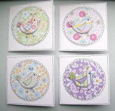 Little Spring Birds  Set of Four Mini by CraftyMushroomCards, £3.50