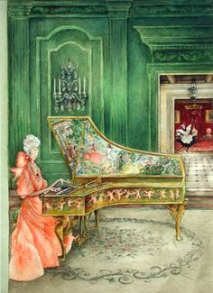 Mrs. Peabody Playing the Harpsichord, 1961  The New Yorker Magazine, October 21, 1961