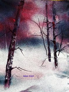 by Madone Simard - photographic texture applied to watercolour painting