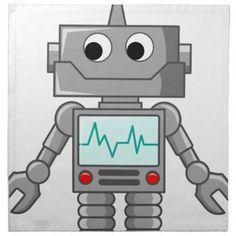Cartoon Robot Napkin - birthday gifts party celebration custom gift ideas diy