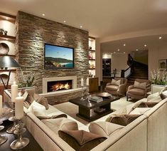 Modern Living Room Interior Design Ideas With Stone Wall Decor Living Room Tv, Living Room With Fireplace, Living Room Interior, Stone Wall Living Room, Living Area, Living Spaces, Family Room Design, Fireplace Design, Fireplace Stone