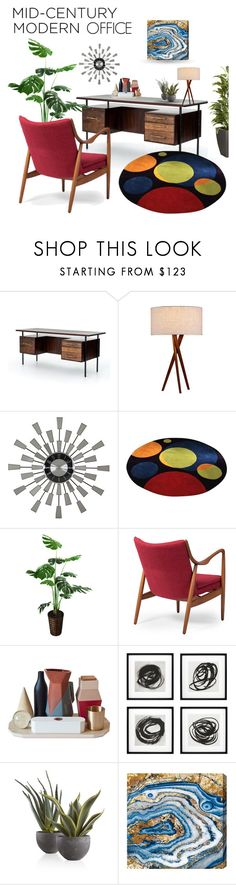 """""""Mid Century Modern Office"""" by queenofsienna ❤ liked on Polyvore featuring interior, interiors, interior design, home, home decor, interior decorating, Joybird, Aspire Home Accents, Baxton Studio and Seletti"""