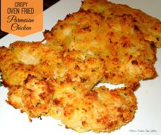 Crispy Oven Fried Parmesan Chicken - Parmesan chicken has to be one of the most popular Italian dishes ever. For this version crispy oven fried chicken Parmesan I use boneless chicken breasts that are rolled in seasoned flour, dipped in an egg and buttermilk wash and rolled in a crispy panko bread crumb and Parmesan coating. I
