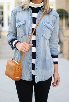 Street style: Fall Layers // Stripes and Chambray