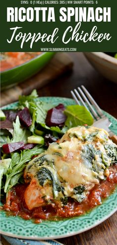 Syn Free Ricotta Spinach Topped Chicken is the ultimate family meal. Tender Chicken breasts over a rich tomato sauce topped with garlicky ricotta and spinach. Yum!! #slimmingworld #weightwatchers #chicken #ricotta #glutenfree #spinach #cheese #synfree