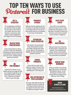 Top Ten Ways to use Pinterest for Business. Seen on: http://wearesocialmedia.gr/10-ways-to-use-pinterest-for-your-business-infographic/
