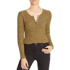 Free People Sergeant Knit Henley Top (180 AUD) ❤ liked on Polyvore featuring tops, moss, crop top, brown crop top, knit top, henley top and brown tops