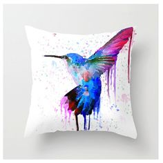 Hummingbird Pillow by SpottedTigerShop on Etsy, $24.00