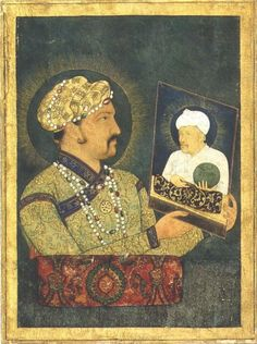Jahangir with portrait of Akbar:Akbar's son Jahangir gazes at a portrait of his father, who symbolically offers him the world.