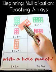 Multiplication arrays with a hole punch http://www.primarythemepark.com/2015/04/multiplication-arrays/