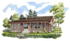 Bunkhouse with Wraparound Porch - 11524KN | Architectural Designs - House Plans
