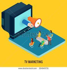 TV marketing concept. Isometric 3d vector
