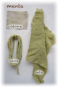 seta lana e cotone tinti con foglie di menta