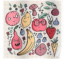 'Fruits are friends' Grafik T-Shirt von Tessa Rath Vegetable Illustration, Fruit Illustration, Food Illustrations, Illustration Styles, Drawing Cartoon Characters, Character Drawing, Cartoon Drawings, Vegetable Cartoon, Illustrator