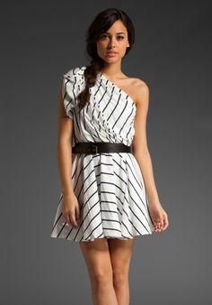 asymmetrical stripe frock in white/navy