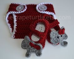 Alabama Crimson Tide Diaper Cover & Bootie Set, Baby Girls and Boys Clothing and Shoes, Photo Prop on Etsy, $45.00