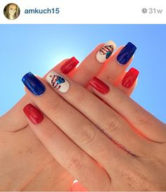 Red whist and blue nails for the of july Patriotic Nails, New Nail Designs, Thanksgiving Nails, Essie, Opi, Holiday Nails, Hair Health, Blue Nails, How To Do Nails