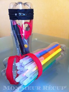 school kits in plastic bottles with zippers