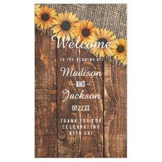 Rustic Wood & Burlap Sunflower Wedding Welcome Banner